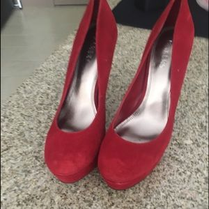 Red Suede Pumps - size 10